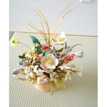染め布花 アンティーク調~ラムンクルスの花