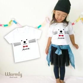 名前入り★ネコTシャツ〔ホワイト〕再販12 長袖変更可能