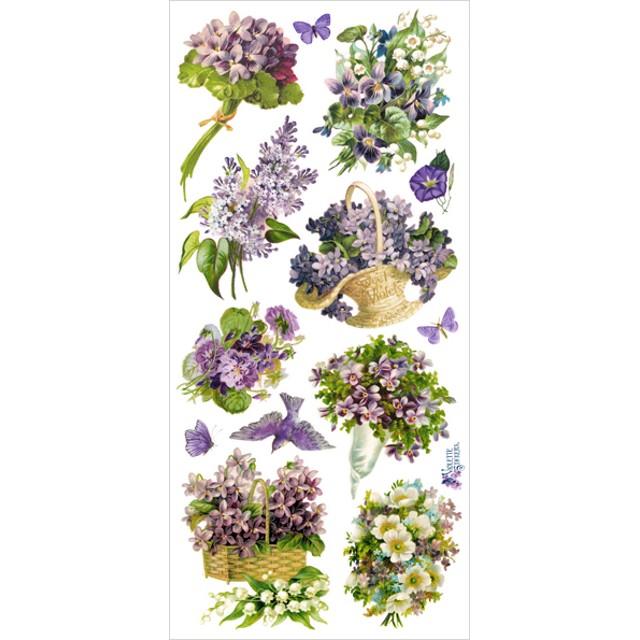 USAヴィクトリアンシール 紫の花々 DA-VS011