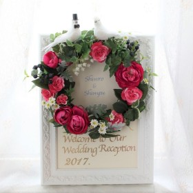 【送料無料】幸せの 夫婦ハトのウェディング☆ウェルカムリース(赤系)