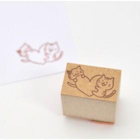 猫のイラストはんこ-ハートと2匹の猫