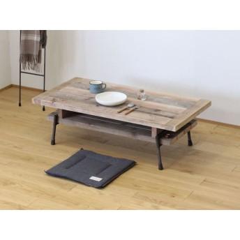 【棚付き】天然杉の古材とアイアンパイプの脚で作った山小屋風ローテーブル・座卓