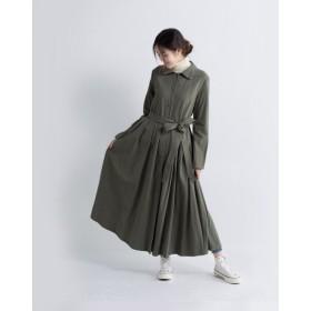 【受注製作】綿麻・ベルト付きタックロングコート・ワンピース新作