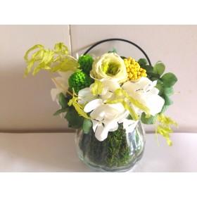 涼しげなガラス花器のアレンジ Barbara(バルバラ)グリーン プリザーブドフラワー 花