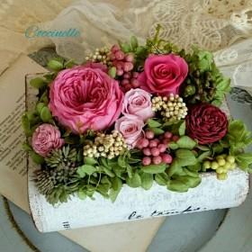 プリザーブドフラワー book arrangement rose。pink.::・'°☆