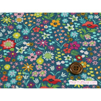USAコットン moda ROSA フラワーパッチ プルシアンブルー 生地 布 花柄