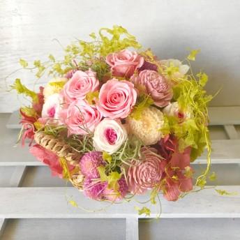 幸運が訪れるお花畑のようなナチュラルアレンジ!Nadia(ナディア)スペシャル版 ピンク フラワーギフトプリザーブドフラワー プレゼント 退職祝い 母の日 退職祝い 送別祝い