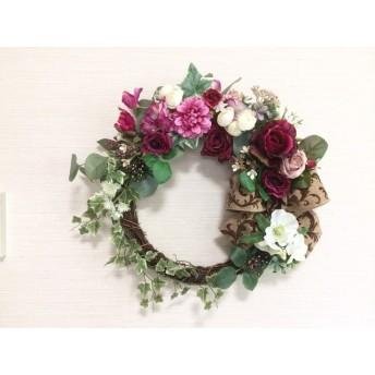 No. wreath-14609/★ギフト/花/玄関リース★/アートフラワー/バラとアイビーのリース/43x45cm