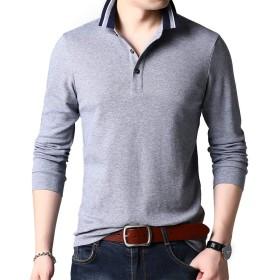 [CEEN] ポロシャツ メンズ 長袖 無地 コットン 通勤 普段着 スポーツ 細身