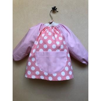70〜80㎝ 赤ちゃんスモック ピンクの水玉