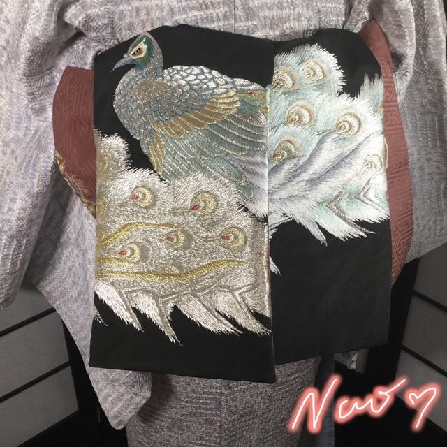 正絹オリジナルリバーシブル半幅帯 孔雀刺繍 金箔 丸紋様