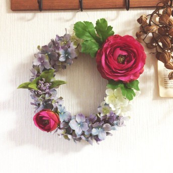 春色のリース(ラナンキュラスと紫陽花)