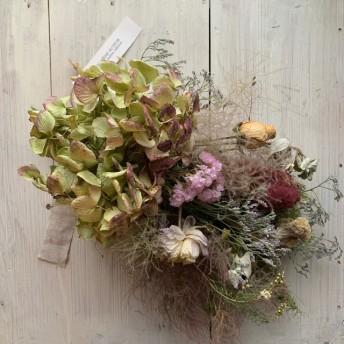 紫陽花とスモークツリーのフレンチスワッグ