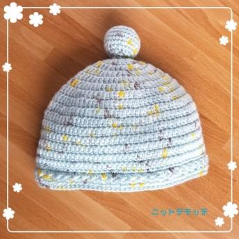☆星模様のベビー帽子