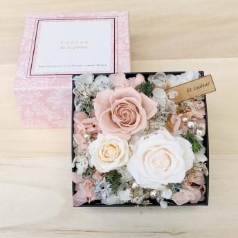 母の日2020 BOXフラワー ホワイト プリザーブドフラワー サンキライ プレゼント お祝い ウェディング 結婚祝い