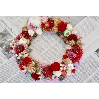 クリスマスリースシックな赤のロマンティックリース