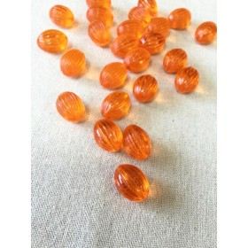 MC.779 ヴィンテージ オレンジ色のFlutedオーバルビーズ★2個セット