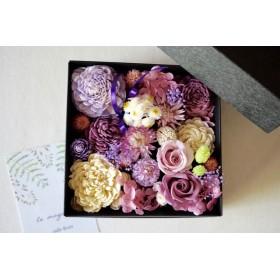 *母の日の贈り物: プリザのBox Flower* ラベンダーピンク