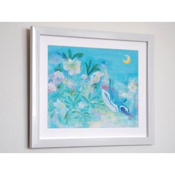 【額入り絵画】冬の窓〜空飛ぶマゼランペンギンたち