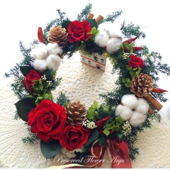 真っ赤な薔薇と真っ白な綿の実のクリスマスリース プリザーブドフラワー作品