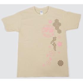 和柄Tシャツ(半袖・からし)桜・紋 Sサイズ