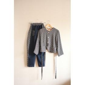 Blackレトロな幾何学模様キモノのジャケット&パンツ (no.226)