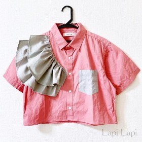 リメイク フリルシャツ ピンク×グレー
