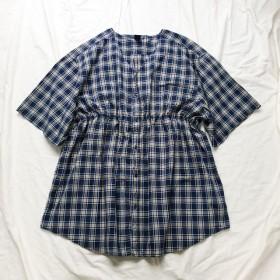 [remake]ネイビーチェックシャーリングノーカラービッグシャツ