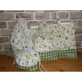 【4点セット】 入学準備!かえる柄の給食袋* 入園*入学バッグセット