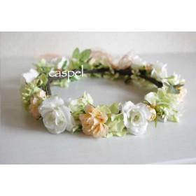 ホワイト×ピーチ ︎ローズ花冠