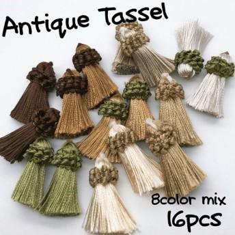 【tasl311】【16個】アンティーク風タッセル ピアス/イヤリング/ネックレス/タッセル