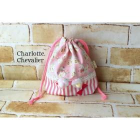 『キャンディパックとねこちゃんのコップ袋 』(ピンク&ストライプリボン)