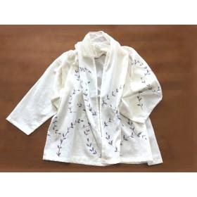 夏の羽織り 綿麻【そよ草】手描き ベージュ