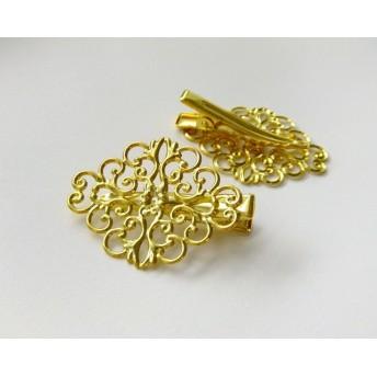 4個・透かしパーツ付きヘアクリップ・ゴールド・19053104