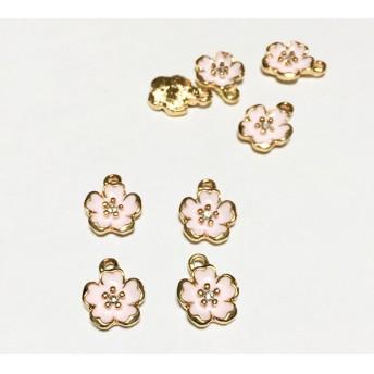 「5個セット 桃花」 ピンク チャーム アクセサリー素材、材料