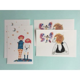 girlsイラスト ポストカード 2種類×2枚=4枚