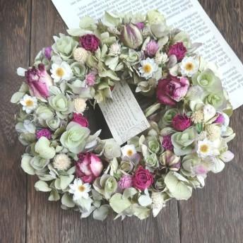 紫陽花と薔薇のフラワーリース F29 ドライ フラワーリース