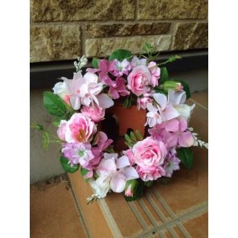 No. wreath-14317★ギフト/花/玄関リース★/アートフラワー・リース20cm/ピンクあじさい&ミニバラ