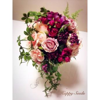 紫ピンクのブーケブートニアセット