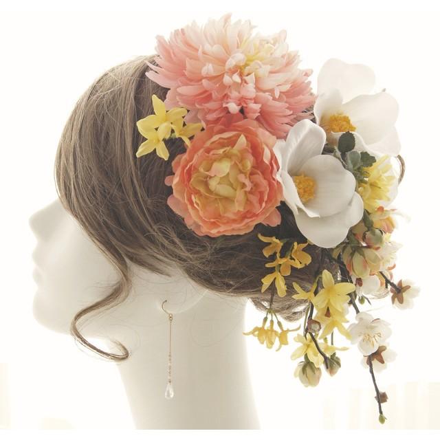 ヘッドドレス・髪飾り 菊・芍薬・椿 結婚式☆成人式☆卒業式