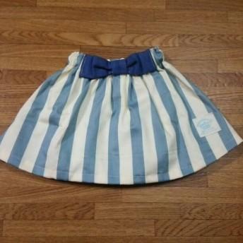 パンツインスカート 水色ストライプ