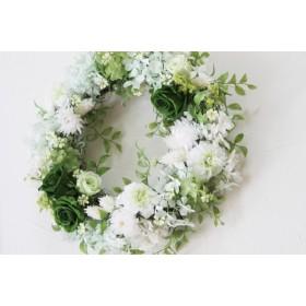【受注生産】 グリーン&ホワイトのウェルカムリース