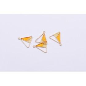 送料無料8個 エポチャーム 三角形 二色 20×22mm ゴールド ライトイエロー×オレンジ mj253