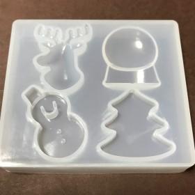 ◆送料無料◆シリコンモールド クリスマス Xmas 雪だるま ツリー トナカイ スノードーム レジン 型 樹脂粘土