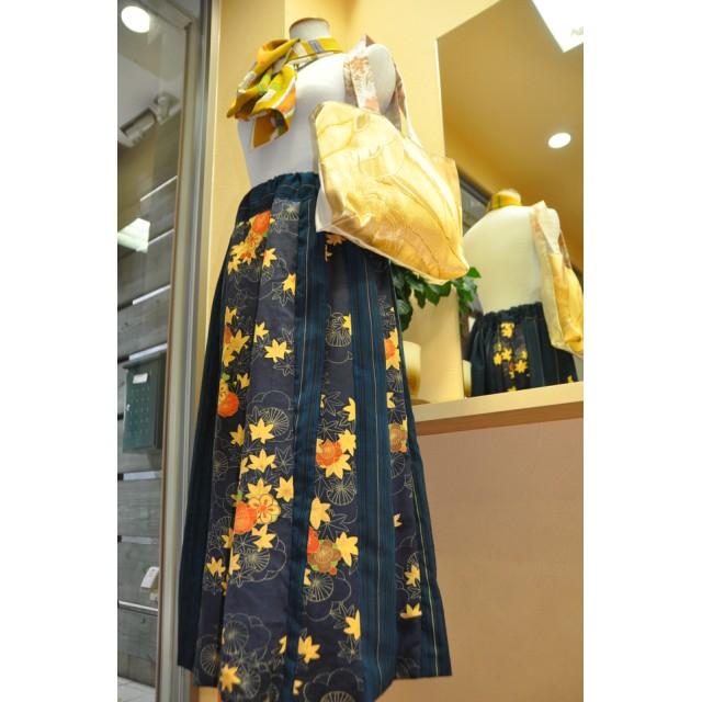ミンネ二周年記念セール もみじ・縞柄スカート・金帯バック イタリア生地スカーフ三点セット