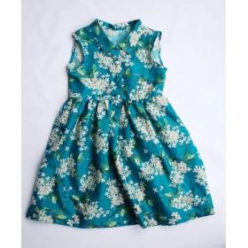【shirt dress】リバティ ワンピース(フラワーグリーン) 120-130/6.7歳キッズ