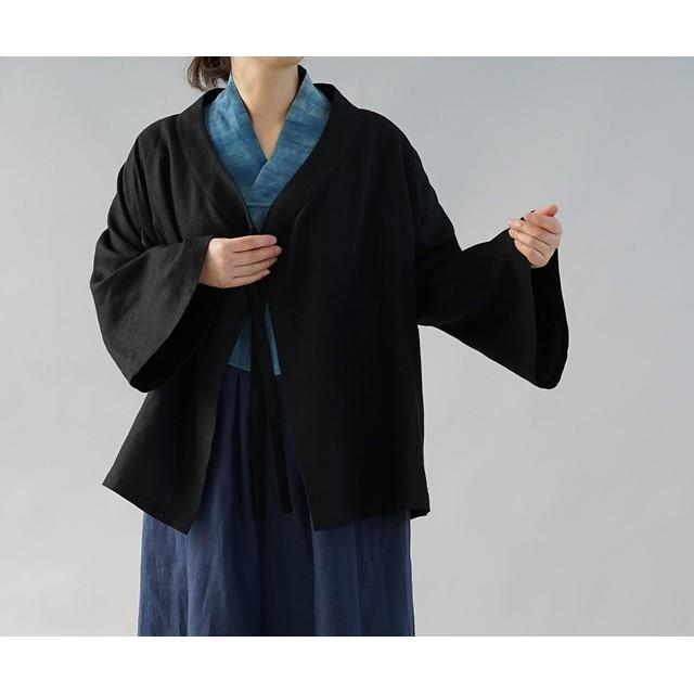 【wafu】厚地 起毛 リネン 作務衣 禅 羽織 ベルスリーブ カーディガン 男女兼用 / 黒 h037a-bck3