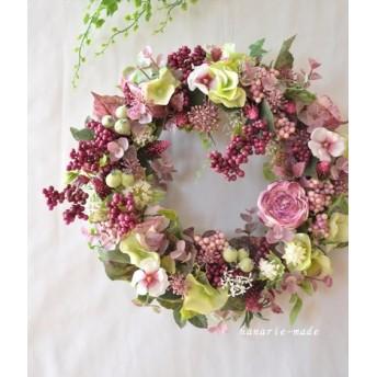 pink purple berry wreath:紫陽花 とアストランティア