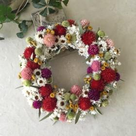 naturel wreath 千日紅