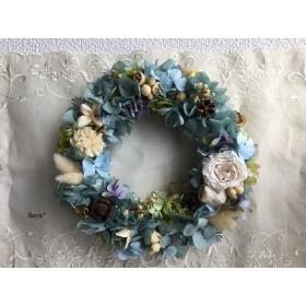 Mist green x Hydrangea  wreath ギフト ブルー  リース